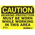 "Zing Eco Safety Sign, Header ""CAUTION"", ""Hearing Protection Must Be Worn While Working In This Area"", 10"" Width x 7"" Length, Recycled Aluminum, Black on Yellow (Pack of 1)"