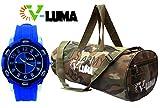 V-Luma Combo of Army Gym Bag with Blue Sport Watch VLCOM1026