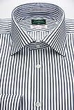 (コンブリオ) Conbrio 白地にネイビーのストライプ100双糸 セミワイドカラー(細身)ドレスシャツ