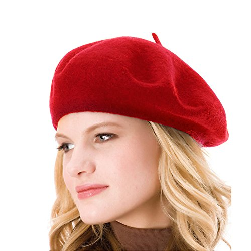 ICSTH Womens Solid Color 100% Wool French Beanie Cap Hat Red (French Cap compare prices)