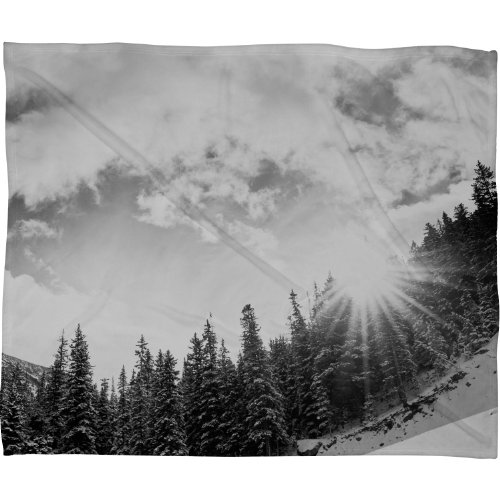 Deny Designs Bird Wanna Whistle White Mountain Fleece Throw Blanket, 80-Inch By 60-Inch back-910851