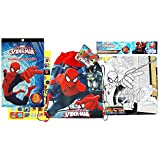 SpiderMan Toys Bundle Pack Includes Sticker Pack, Coloring Puzzle with 4 crayons and Non Woven Sling Backpack