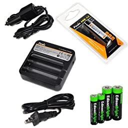Fenix ARE-C1 two bays Li-ion 18650 home/in-car battery charger, Fenix 18650 ARB-L2 2600mAh rechargeable battery (For PD35 PD32 TK22 TK75 TK11 TK15 TK35) with EdisonBright Batteries sampler pack