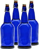 1 Liter Blue Glass Bottles, Cobalt Blue Solar Water, 4 Pack
