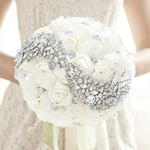 MyGift Satin Bride Holding Bouquet / Roses & Rhinestones Wedding Flowers, Ivory