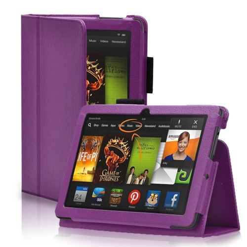 """Century Accessory Pu Leather Folio Case Cover Stand W/ Stylus Holder For Amazon Kindle Fire Hdx 7"""" 7 2013 Model Purple"""