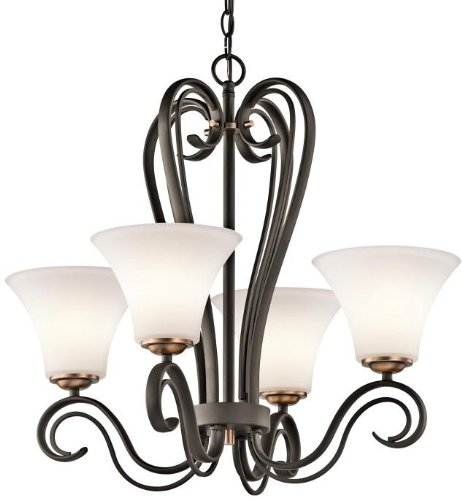 Kichler Lighting 42985Oz Claridge Court 4-Light Chandelier, Old Bronze Finish With Satin Etched Opal Glass front-901236