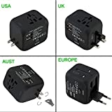 Worldwide Travel Adapter Premium Universal International Plug [US UK EU AU about 150 countries] with Dual USB Charging Ports & Universal AC Socket, Safety Fused (Black)