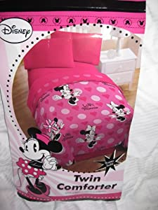 Disney Minnie Mouse 4pc Twin Bedding Set Pink Comforter & Sheets Great Girls Room Decor Super Soft ! at Sears.com