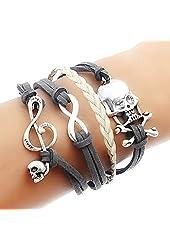 Godagoda Velvet Artificial Leather Wax Braided Weave Wrap Love Heart Friendship Bracelet