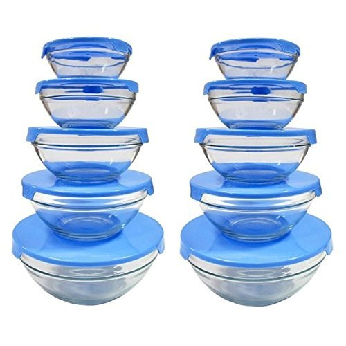 5-piece Nesting Clear Glass Bowl Set with Blue Lids (Pack of 2), Dishwasher, freezer and microwave safe (5 Piece Glass Bowl Set compare prices)