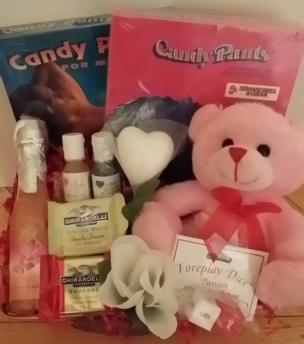 Valentines Day Sexy Him Her Gift Basket Massage Oil Edible Underwear ...