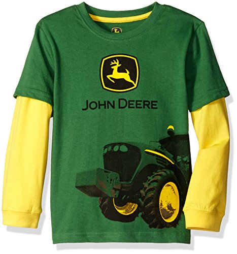 John Deere Little Boys Tractor Mud Logo Tee, Green/Yellow, 4