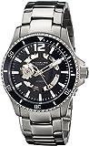 Stuhrling Original Men's 772.01 Aquadiver Regatta Makran Automatic Self Wind Black Dial Stainless Steel Bracelet Watch