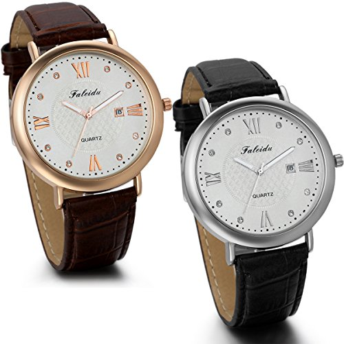 jewelrywe-2-pack-black-and-brown-leather-strap-wrist-watches-classic-round-rhinestone-accented-men-b