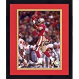 Framed Jerry Rice San Francisco 49ers Autographed 8'' x 10'' Jumping For Ball Photograph -... by