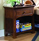 Lea Crossover Burnished Cherry Nightstand