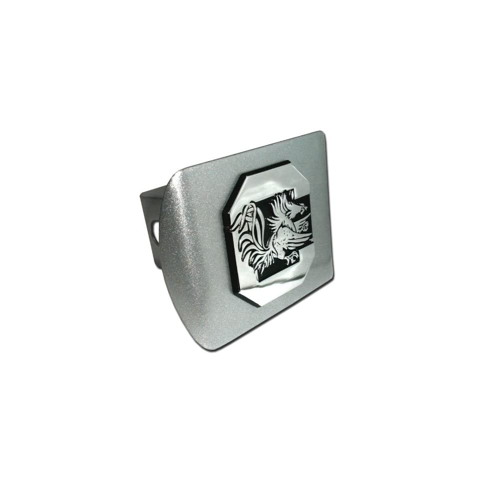 University of South Carolina Brushed Silver with Chrome Gamecock Emblem NCAA College Sports Metal Trailer Hitch Cover Fits 2 Inch Auto Car Truck Receiver