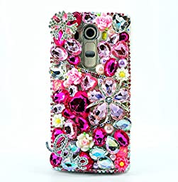 LG V10 Case, Sense-TE Luxurious Crystal 3D Handmade Sparkle Diamond Rhinestone Cover with Retro Bowknot Anti Dust Plug - Snow Flowers Heart LOVE / Hot Pink