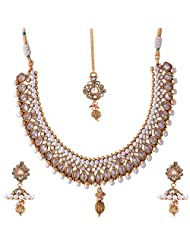 Ganapathy Gems 1 Gram Gold Plated Traditional Necklace Set With Polkistones.
