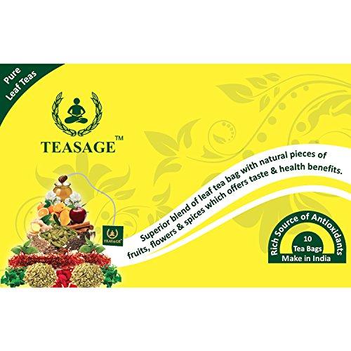 TEASAGE Orange Spice Green Tea - Box Of 10 Pyramid Shaped Tea Bags