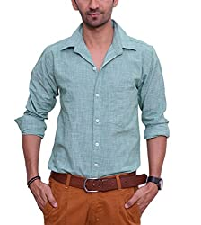 Ballard Men's Casual Shirt (BCS0013_Green_44)