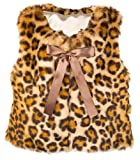 Lilax Little Girls' Leopard Faux Fur Vest 5T Brown