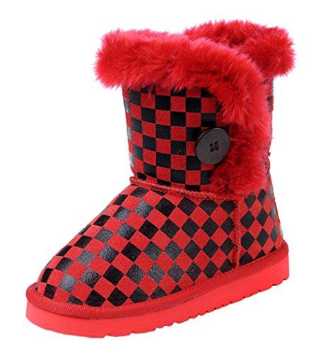 Milanao Kids Fleece Single Button Slip Resistant Warm Snow Boots(10 M Us Toddler,Red-Plaid)