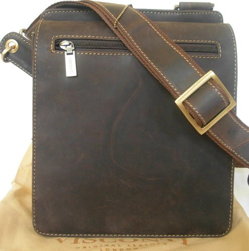 New Visconti brown across body leather messenger bag 18570
