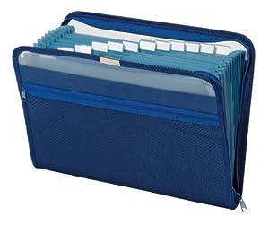 Globe-Weis 13-Pocket Fabric Expanding Zip File, Letter Size, Dark Blue, Single File (84087DBL)