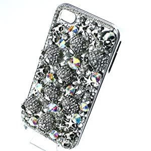 niceEshop Handmade Halloween Silver Skull Black Crystal diamond Bling Crystal Case Cover For iPhone 4 4S from niceEshop