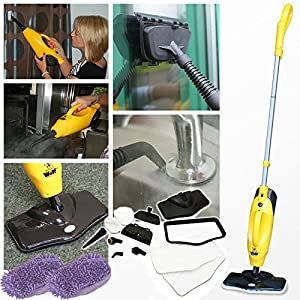 Wolf 1200W 5 in 1 Super Heated Steam Cleaner Floor Cleaning Handheld and Upright Cleaner with Accessories PLUS BUY NOW AND GET A PACK OF 2 CORAL CLOTHS INCLUDED!!
