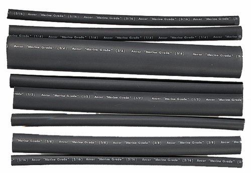 Ancor 301506 Marine Grade Electrical Adhesive Lined Heat Shrink Tubing Kit (3/16 To 3/4-Inch Diameter, 6-Inches Long, Black, 8-Pack)