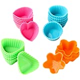 Bakerpan Silicone Small Mini Chocolate Holders, Truffle Cups, 24 Pack, 4 Colors and Shapes