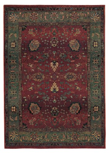 "2'6"" x 9'1"" Runner Oriental Weavers Sphinx KHA-807C4 Red/Green Color Machine Made Egyptian ""Kharma Collection"" Rug"