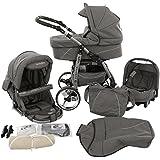 Ferriley y Fitz Daytona Cochecito de bebé combinado 3 en 1 - Cochecito de bebé y silla de paseo (protección contra la lluvia, mosquitero, portavasos, adaptador de asiento de coche, ruedas giratorias, 43 colores)