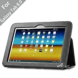Acase (TM) Samsung Galaxy Tab 8.9 (P7310) Leather EZ Carry Case with 3 in 1 built in Stand (BLACK)