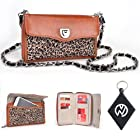 Leopard with Brown Bicast Leather Wristlet Wallet Cover Case + Chain Fits ZTE Fury / Director + NuVur Keychain (SUNISTL1)