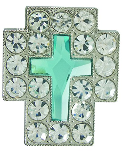 "Springfield Leather Company 1-3/8"" X 1-3/8"" Clear and Light Blue Crystal Cross Concho"