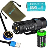 Olight S1R Baton rechargeable 900 Lumens CREE XP-L LED Flashlight EDC with RCR123 Li-ion battery , flex magnetic USB charging cable and EdisonBright CR123A Lithium back-up Battery bundle