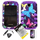 4 items Combo: ITUFFY LCD Screen Protector Film + Mini Stylus Pen + Case Opener + Purple Pink Green Yellow Blue Multi Color Butterfly Design Rubberized Hard Plastic + Soft Rubber TPU Skin Dual Layer Tough Hybrid Case for Straight Talk Samsung Galaxy Proclaim 720C SCH-S720C / Verizon Samsung Illusion i110