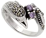 Sterling Silver Marcasite Dolphin Ring, w/ Brilliant Cut Amethyst CZ, 1/2 inch (11 mm) wide