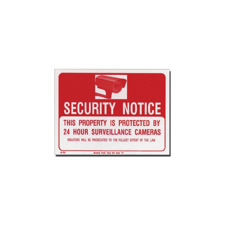 Security Notice 24 hour Surveillance Camera Warning Sign Red