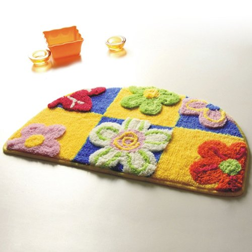 Naomi - [Yellow / Blue Flowers] Kids Room Rugs (15.7 by 24.8 inches)