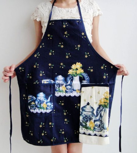 napkins assorted colors Korean Cute Floral Print Women Sleeveless Aprons Kitchen Anti-oil Cooking Apron with Hand Towel napkins cloth (A1)