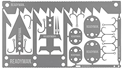 Readyman Wilderness Survival Card, credit card sized metal survival tools that you can carry in your wallet, contains arrowhead, small game arrowhead, fishing hooks, and more