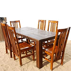 Amazon.com: Contemporary Lincoln Study 7pc Maple Dining Table ...