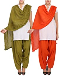 Womens Cottage Women's Combo Pack Of 2 Pure Solid Cotton Semi Patiala Salwar & Cotton Dupatta Stole With Lace - B01C46XRCU