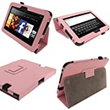 IGadgitz Pink 'Portfolio' PU Leather Case Cover for Amazon Kindle Fire HD 7