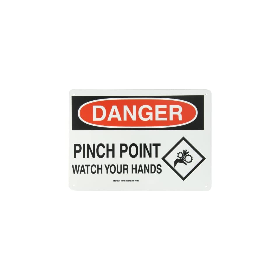 Brady 25913 14 Width x 10 Height B 401 Plastic, Black and Red on White Sign, Header Danger, Legend Pinch Point Watch Your Hands (with Picto)